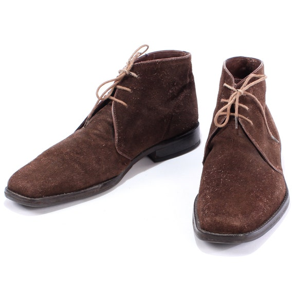 Vintage SUEDE Chukka Boots . Mens 1990s Brown Leather Lace Up