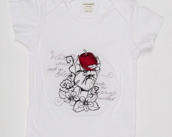 White onesie with Snowwhite fairytale embroidery design