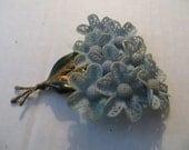 ANTIQUE VINTAGE large celluloid flower brooch