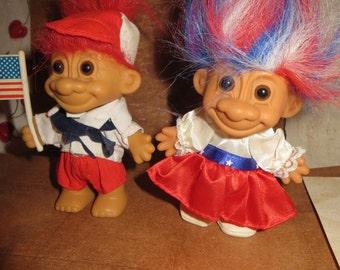 Vintage 1986    pair  RUSS  USA AMERICA  patriotic   trolls