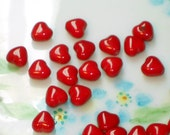 N35E Vintage Heart beads Ruby Red Hearts Glass Czech Glass Valentines Tiny 6mm