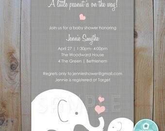 Elephant Baby Shower Invitation / Little Peanut Elephant and PInk Hearts / PRINTABLE  INVITATION / Item 10225