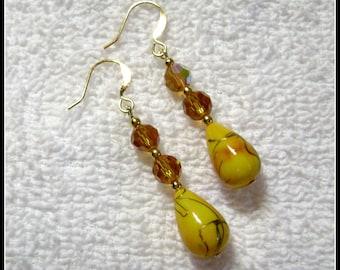 Sunshine Earrings - Golden Yellow Jewelry - Dangle Earring - E110