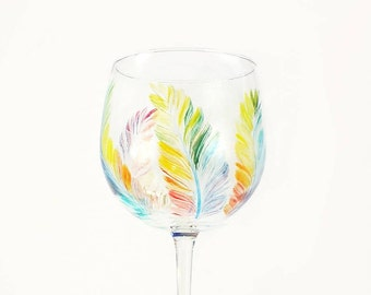 Hand Painted Wine Glasses - MultiColored Feathers, Large Balloon Red Wine Glass, Set of 4 - Fun Colorful Rainbow LGBT Tropical Wine Glass