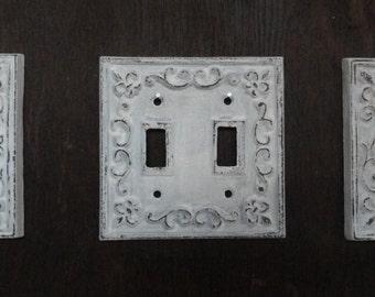 Cast iron switch plate set of 3 antique white switch plate shabby cottage fleur de lis chic.