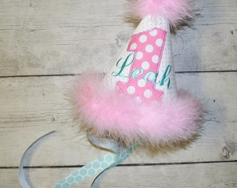 Pink and Aqua First Birthday hat, Personalized Birthday Hat, Cake smash birthday hat