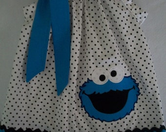 Cookie monster pillowcase dress Size 3 months to 6 years old, birthday, baby girls, gift giving, photo shoot