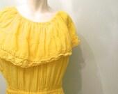 vintage. 70s Yellow Cotton Gauze Jumpsuit // Onsie // Free Size