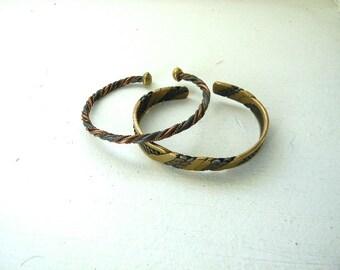 Jewelry. Vintage. Brass Male Cuff Set // Large Bohemian Bracelets