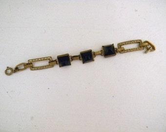 Jewelry. Vintage.  Old Steampunk Brass Metal Chain Bracelet with Black / XS or S wrist