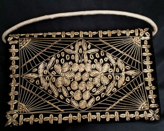 Vintage 1950's Deco Floral Gold Bullion Embroidered Black Velveteen Evening Bag from India