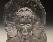 Cast glass Buddha bust sculpture prism, sand cast figure art, optical suncatcher halo