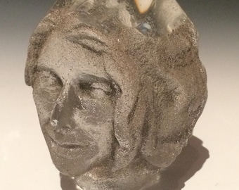 Prism head sculpture, sand cast glass  portrait art face with facets, optical paperweight rainbow maker