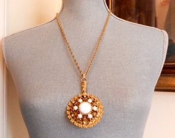Mirror Milk Glass Pendant Necklace Gold Tone Filigree Faceted Stones Gold Chain Victorian Revival