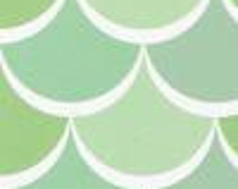 New Waves Scales - Pastel Green Shades - Cotton Fabric - Sold by 1/4 Yard
