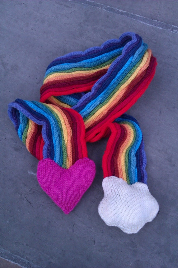 Knitting Pattern For Rainbow Scarf : Adult and Child Scarf Pattern - Love and Rainbow Stripe Scarf - Knit Pattern ...