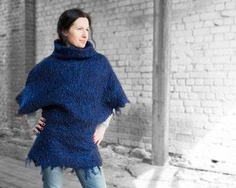 ON SALE Felted jacket wool kimono women merino and sheep curl turtleneck vest royal blue top winter sale  Christmas gift