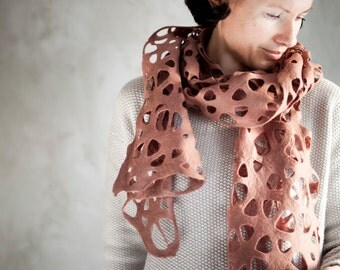 Cacao felted scarf women merino wool beige shawl women wrap light brown lace scarf neck warmer wool cowl summer wrap - handmade to order