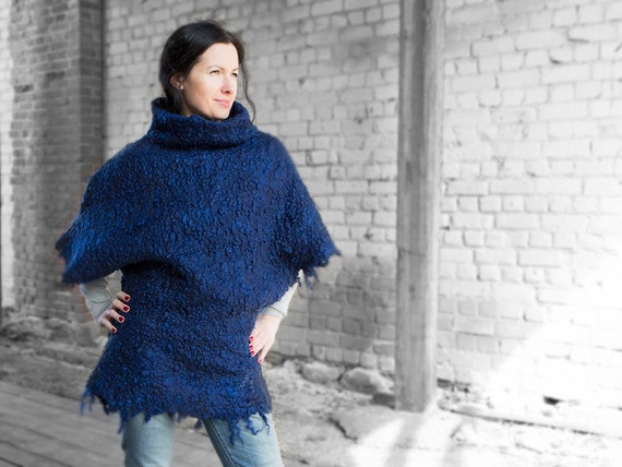 ON SALE Felted jacket wool kimono women merino and sheep curl turtleneck vest royal blue top winter sale  Christmas gift