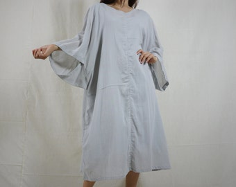 Boho Casual Elegant Plus Size 3/4 Sleeve Drop Shoulder V Neck Azo Free Color Grey Light Cotton Dress With Lining - SM688