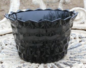 Black Glass Flower Pot or Planter, American Cube Pattern