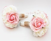Reserved - Burlap and Lace Wedding Flower Package Bridesmaid Bouquet Real Touch Roses Pink & White Roses - Customize for Your Wedding Colors