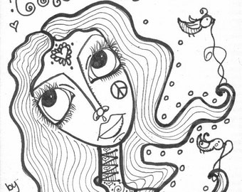 henna girls coloring book hippie art - Hippie Coloring Book