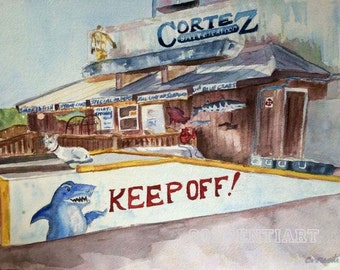 Keep Off - Cortez Florida - Giclee Print from Original Watercolor Painting 12x16