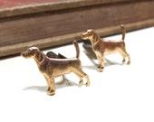 Raw Brass Dog Cuff Links - Labrador Retriever - Hound - Pointer - Soldered - Man's best friend - Puppy