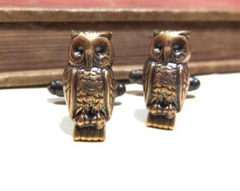 Antiqued Brass Owl Cuff Links - Soldered - Bird Steampunk Victorian Antique Silver Cufflinks