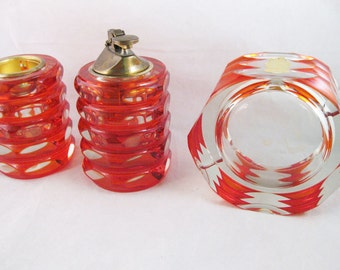 Imperlux Red/Orange Crystal Candle Holder/Lighter & Ashtray Cut To Clear Germany RARE!