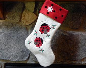 Ladybug Machine Embroidered Christmas Holiday Stocking - Custom Order