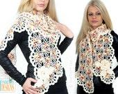 PATTERN Vogue Flower Scarf Crochet PDF Pattern