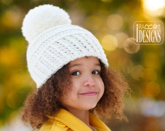 CROCHET PATTERN Amelia Hat with Chunky PomPom PDF Crochet Pattern with Instant Download