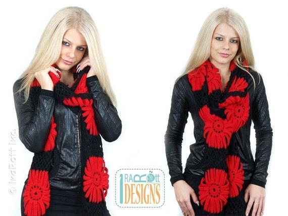 PATTERN - Gerbera Daisy Scarf - Crochet PDF Pattern