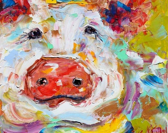 Fine Art Print Portrait of a Pig made from image of oil painting by Karen Tarlton