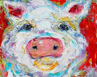 Fine Art Print Pig from image of oil painting by Karen Tarlton