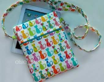 Cats iPad Case Purse Colorful Bright eReader Note Laptop Sleeve Case Cross Body Shoulder Strap Lime Aqua Teal Ready to Ship