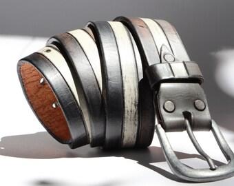 """Juventus  Belt  for father Handmade Women Belts, Leather belt for women Black White Black width 1.4"""","""