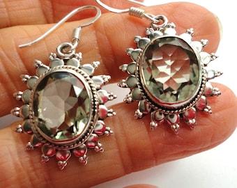 Green Amethyst Faceted Gemstone Earrings Green Amethyst or Prasiolite Sunburst Earrings in Sterling