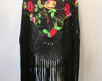 Gorgeous 1920's Floral Print Silk Shawl with Long Fringe Great Gatsby Downton Abbey Roaring 20's Pinup Glamour Antique