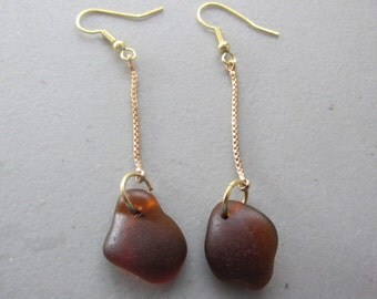 BROWN Seaglass, Beach Glass Jewelry Earrings Genuine - Authentic