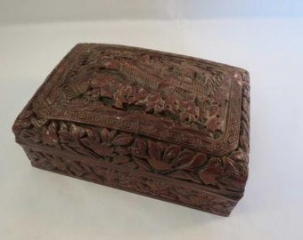 Chinese Qing Dynasty Qianlong Cinnabar Lacquer Carved Scenic Box 18thC