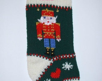 Christmas stocking personalized hand knit. Nutcracker soldier Christmas decoration.  Holiday home decor . Ready to ship