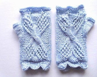 Lace fingerless gloves.Blue color  Hand knit  Ready for shipping