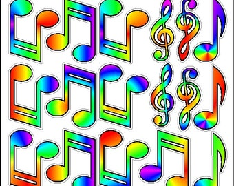 Peel And Stick Rainbow Music Notes Stickers Decals Removable Wall Art