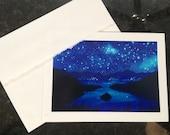 "Emerald Bay Lake Tahoe starry night Watercolor Art print of painting Embossed Greeting Card, Note Card ""Emerald Nights"""