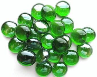 25 Green Glass GEMS// Vase Marbles// Mosaic//Mosaic Craft Supplies