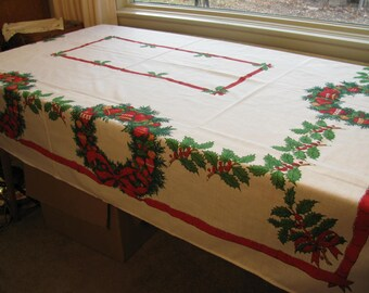 Cotton Polyester No Iron Vintage Christmas Tablecloth w/ Wreathe Holly Red Ribbon and Ornaments