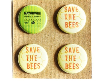 Save The Bees - Button Pack - Pin Pack - Naturwrk Button Pack - Animal Buttons - Bee Buttons